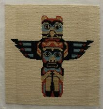 Totum Pole Tribal Art Native American Needlepoint Completed Unframed