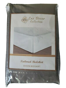 NEW Lux Decor Collection Tailored Bedskirt QUEEN SIZE  Grey