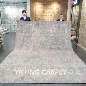 Yilong 9x12ft Grey Handmade Wool Carpets Dining Room Woolen Area Rugs P680