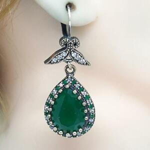 Deco 16.00ctw Emerald & Diamond Cut White Sapphire 14K Yellow Gold 925 Earrings