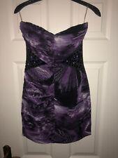 Vestido de fiesta Lipsy púrpura en capas bodycon corto talla 8, Sin Tirantes Mini boda