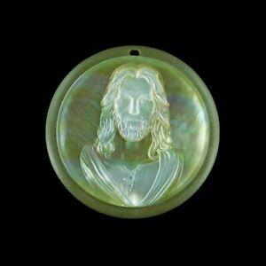 Carved MOP Stone Jesus Bead GM048050