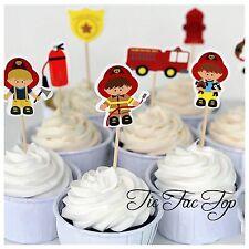 12x Fire Brigade Cupcake Toppers Picks. *Superb Quality* FIreman Sam Rescue 911