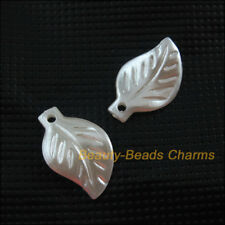 50 New Charms Acrylic Plastic Leaves Pendants Grind White 12x20mm