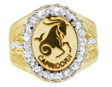 Mens Real 10K Yellow Gold Lab Diamond Capricorn Horse Zodiac Designer Pinky Ring