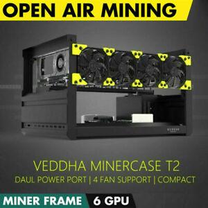 Veddha T2-6 GPU Aluminum Open Air Mining Computer Frame Rig Case BTC Ethereum