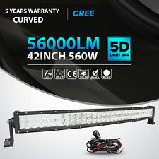 "5D+ 42Inch 560W Curved Led Light Bar Spot Flood Offroad 4WD Driving Lamp 44"" 50"""