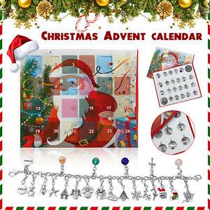 Christmas Advent Calendar 22 Pendant Bracelet Necklace DIY Set Fashion Jewelry