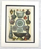 1895 Antique Print Ancient Persian Minakari Enamel Vase Bowls Indo Persia ART