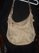 5915e432e0 Versace Large Hobo Handbag Beige Leather with Silver Stud and Chain Detail
