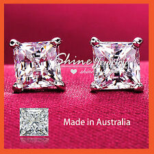 Solid Sterling Silver 1.5ct Signity Lab Diamond Mens Womens Square Stud Earrings