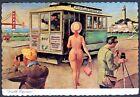 1960s SAN FRANCISCO NUDE WOMAN w/GOLDEN GATE BRIDGE & CABLE CAR~VINTAGE POSTCARD