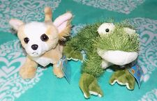 WEBKINZ Lot of 2 With Codes and Tags Green Frog, Chihuahua Dog Plush