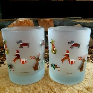 Culver Frosted Tumbler Glass Set Of Christmas Dogs