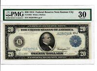 1914 $20 Fr.1003 KANSAS CITY Federal Reserve Note PMG VF-30 Large Size Bill 9003
