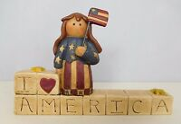I Love America with Girl holding Flag - New resin block by Blossom Bucket#27138
