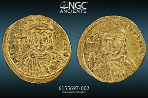 Constantine V, with Leo III 'the Isaurian' - NGC AU 4/5 3/5 - AV Solidus -  58