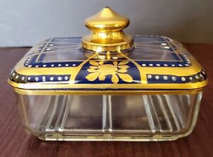 Moser Circa 1885-1900 Art Glass Gorgeous Jewelry Trinket Box Casket Excellent..