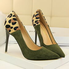 High Heels Pointed Toe Women's Ladies Court Shoe Stilettos Leopard Print Pumps