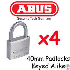 Padlocks ABUS  40mm Padlocks  x4  BULK LOT High quality Keyed Alike