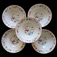"Farberware White Christmas 1995 Set of 5 ~ 7"" Cereal Bowls #391 Babanovsky"