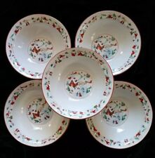 "Farberware White Christmas 1995 Set of 5 ~ 7"" Cereal Bowls #391 Babanovsky"