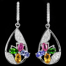 NATURAL RUBY CHROME DIOPSIDE TANZANITE CITRINE CZ 925 Sterling Silver EARRINGS