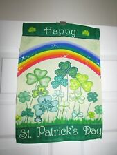 Happy St.Patrick's Day Rainbow and Field of Shamrocks Small Garden Flag