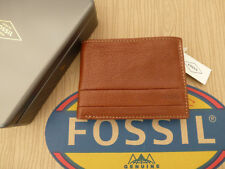 Fossil Tri-fold Wallet Lufkin INT Traveler Brown Leather Coin Wallets