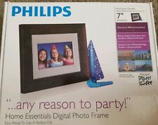 Phillips Digital Picture Frame 7-Inch Wood Panel Auto Rotate Clock Calendar
