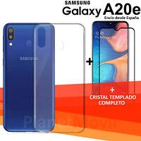 "SAMSUNG  GALAXY A20e 5,8"" protector cristal completo 3d vidrio templado + funda"