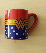 NEW Wonder Woman Glitter Mug Gold Logo 14oz (Your Lasso of Warmth)