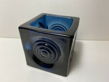 Rare Blue Viking Glass Bullseye Candle Holder Vase Mid Century Modern