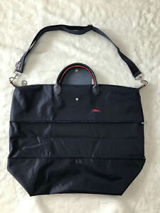 Longchamp Le Pliage Club Expandable Travel Bag Shoulder Strap - Navy Blue XXL