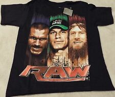 WWE RAW  Boy's L(10/12) Black Tee~ Bryan, Cena And Orton On Front~ Official WWE
