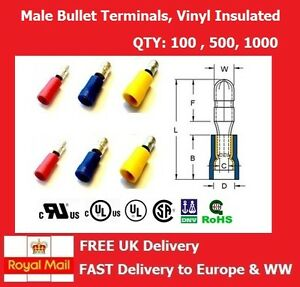 Male Bullet Crimp Terminal, Insulated Electrical Connector, RED BLUE YELLOW