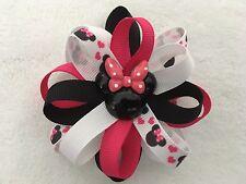 "Girls Hair Bow 3 1/2"" Wide Flower Pink/Blk/Wt Minnie Grosgrain French Barrette"