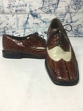 Stacy Adams Leather Wingtips Made in India Embossed Mens 9.5M
