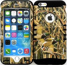 """Hybrid Impact Cover Case Iphone 6 Plus 5.5"""" Mossy Camo Real Ducks Black"""