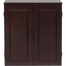 Bathroom Wall Cabinet Espresso Double Door Storage Chest Brown Wood Furniture