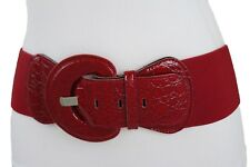 Women Wide Stretch Faux Leather Sexy Red Belt Hip Waistband Fabric Plus M L XL