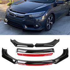 For Honda Civic Up To 2020 Front Bumper Lip Splitter Diffuser Gloss Black Amp Red Fits 1991 Honda Civic