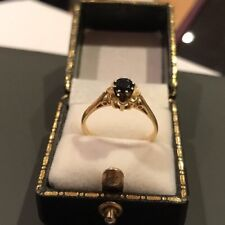 Vtg Hallmarked 18k 18ct Yellow Round Gold Solitaire Sapphire Ring Size P 1/2
