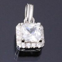 2 Ct Princess Diamond Brilliant Cut Pendant SOLID 14k White Gold Women Gift Box