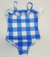 NWT Baby Gap Girl Size 18 24 Months 2t 3t 4t 5t Blue Gingham Eyelet Bathing Suit