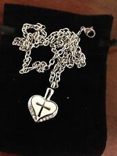 """Memorial Cremation Jewellery/Pendant/Urn/Keepsake for Ashes-""""Heart with Cross"""