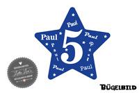f8e68d33682a61 Bügelbild Geburtstag Stern Star mit Zahl und Name XXL Flex Glitzer Flock