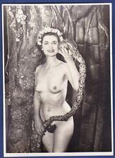vintage large risque photo nude Eva snake appel girl nu Akt foto by Roye ca 1955