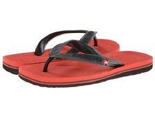 Quiksilver Boy's Youth Haleiwa Red Black Cush Sandals Flip Flops Shoes Thongs