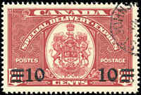 1939 Used Canada F-VF Scott #E9 10c-on-20c Special Delivery Stamp